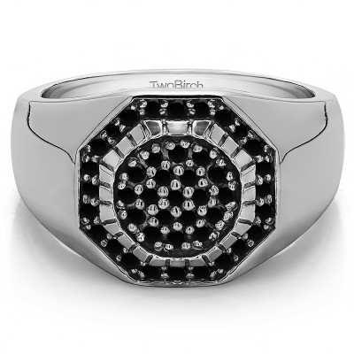 0.48 Ct. Black Stone Domed Men's Ring with Engraved Design