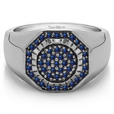 0.48 Ct. Sapphire Domed Men's Ring with Engraved Design