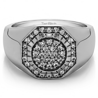 0.48 Ct. Domed Men's Ring with Engraved Design