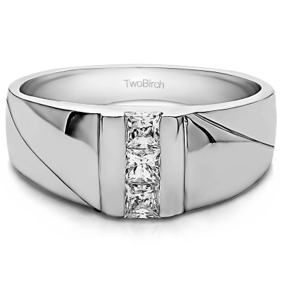 0.33 Ct. Princess Three Stone Channel Set Men's Ring