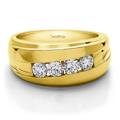 1.4 Ct. Classic Channel Set Four Stone Men's Wedding Ring in Yellow Gold