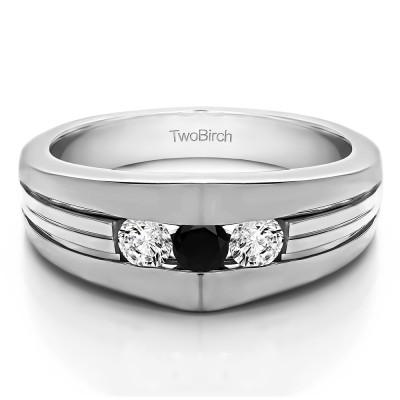 0.6 Ct. Black and White Stone Modern Three Stone Men's Ring