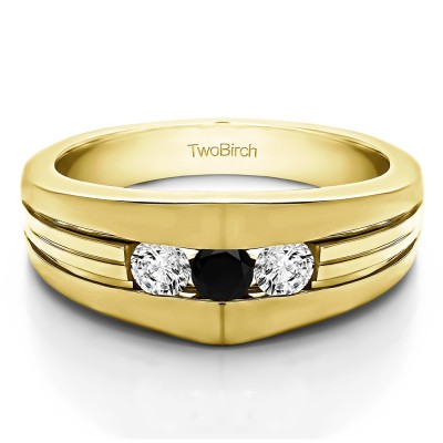 0.6 Ct. Black and White Stone Modern Three Stone Men's Ring in Yellow Gold