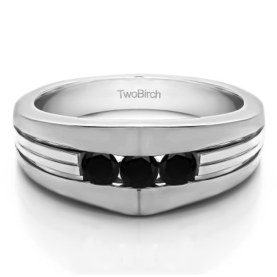 0.6 Ct. Black Stone Modern Three Stone Men's Ring
