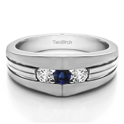 0.6 Ct. Sapphire and Diamond Modern Three Stone Men's Ring