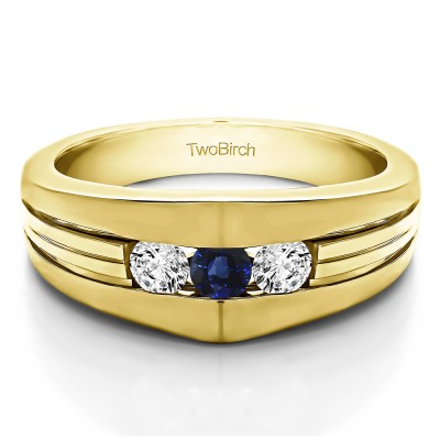 0.6 Ct. Sapphire and Diamond Modern Three Stone Men's Ring in Yellow Gold