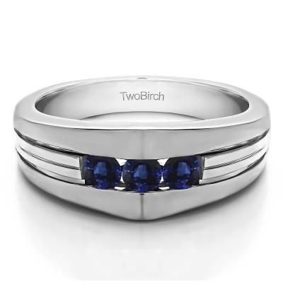 0.6 Ct. Sapphire Modern Three Stone Men's Ring