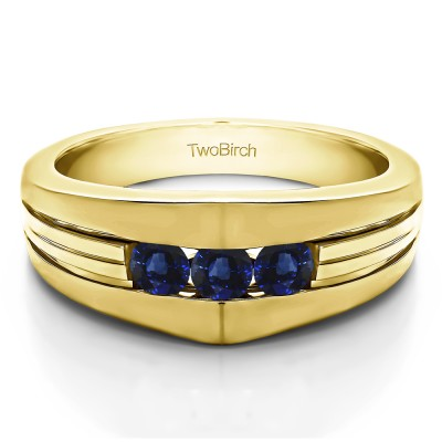 0.6 Ct. Sapphire Modern Three Stone Men's Ring in Yellow Gold