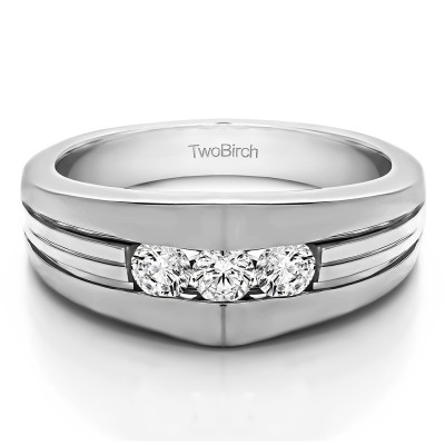 0.6 Ct. Modern Three Stone Men's Ring