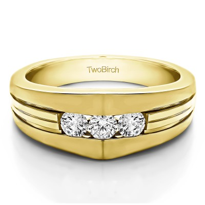 0.6 Ct. Modern Three Stone Men's Ring in Yellow Gold