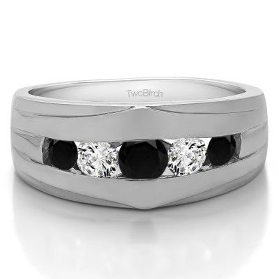 1.2 Ct. Black and White Stone Classic Channel Set Men's Ring
