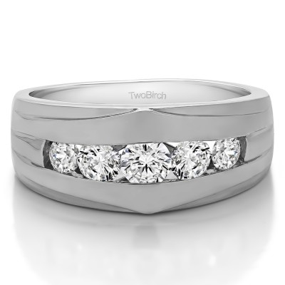 1.2 Ct. Classic Channel Set Five Stone Men's Ring