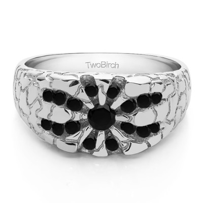 0.71 Ct. Black Stone Contemporary Jaw Breaker Style Men's Ring