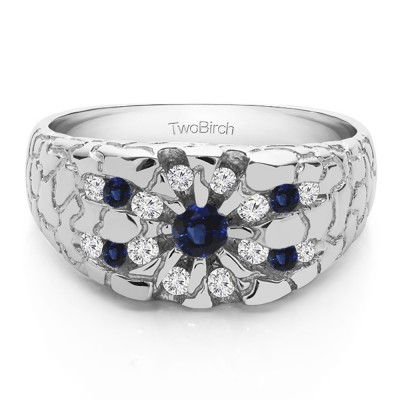 0.71 Ct. Sapphire and Diamond Contemporary Jaw Breaker Style Men's Ring
