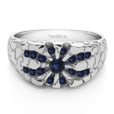 0.71 Ct. Sapphire Contemporary Jaw Breaker Style Men's Ring