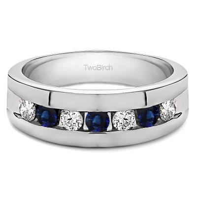 0.25 Ct. Sapphire and Diamond Channel Set Men's Ring with Open End Design