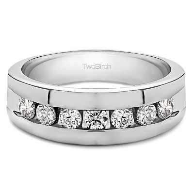 0.25 Ct. Channel Set Men's Ring with Open End Design