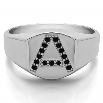 0.1 Ct. Black Stone Personalized Men's Letter Ring Available in A to Z