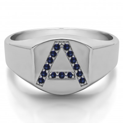 0.1 Ct. Sapphire Personalized Men's Letter Ring Available in A to Z