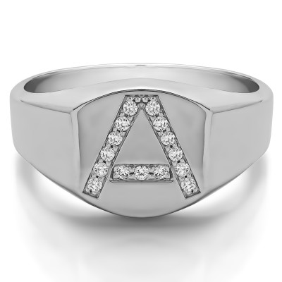 0.1 Ct. Personalized Men's Letter Ring Available in A to Z