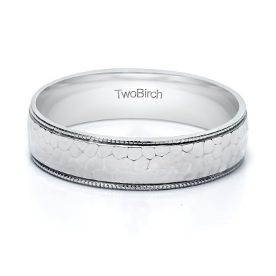 5 Millimeter Wide Hammered Finish Plain Men's Wedding Ring
