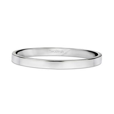 High Polished 2 Millimeter Wide Plain Men's Wedding Band