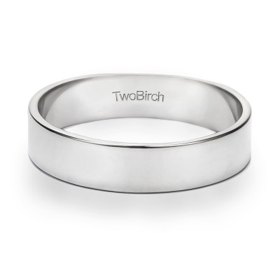 5 Millimeter Wide High Polish Plain Men's Wedding Ring