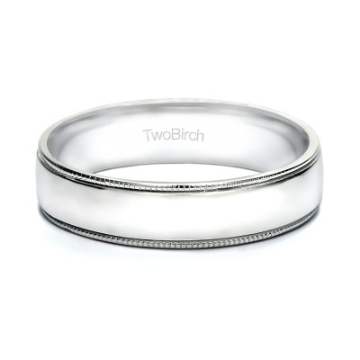 5 Millimeter Wide Plain Men's Wedding Ring with Millgrained Design