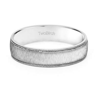 5 Millimeter Wide Brushed Plain Men's Wedding Ring With Millgraining