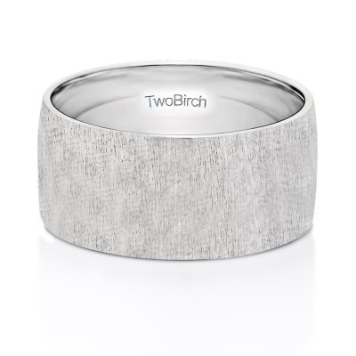 10 Millimeter Wide Brushed Finish Plain Men's Wedding Ring