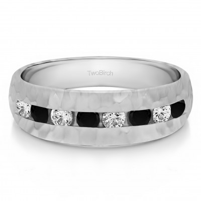 1 Ct. Black and White Stone Open End Channel Set Men's Wedding Band with Hammered Finish