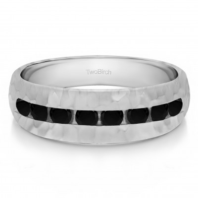 0.23 Ct. Black Stone Open End Channel Set Men's Wedding Band with Hammered Finish