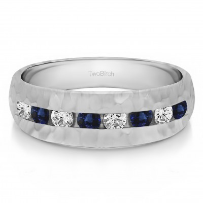 0.23 Ct. Sapphire and Diamond Open End Channel Set Men's Wedding Band with Hammered Finish
