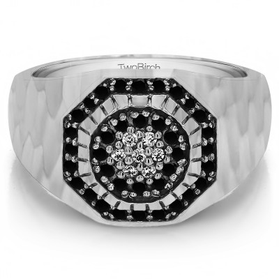 0.48 Ct. Black and White Stone Domed Cluster Men's Ring with Hammered Finish