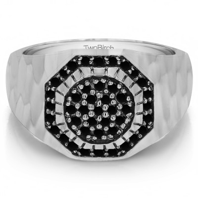 0.48 Ct. Black Stone Domed Cluster Men's Ring with Hammered Finish