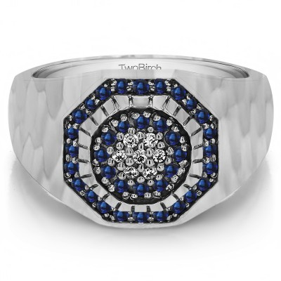 0.48 Ct. Sapphire and Diamond Domed Cluster Men's Ring with Hammered Finish