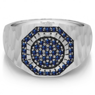 0.48 Ct. Sapphire Domed Cluster Men's Ring with Hammered Finish