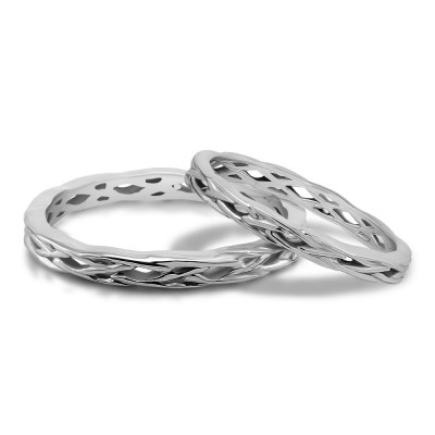 His and Hers Celtic Infinity Braided Wedding Ring Set