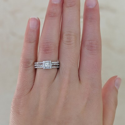Square Halo Engagement Ring and Ring Guard, 2 Pieces (Ring Guard and Halo Engagement Ring)
