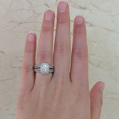 Square Halo Engagement Ring and Ring Guard Set, 2 Pieces (Ring Guard and Halo Engagement Ring)