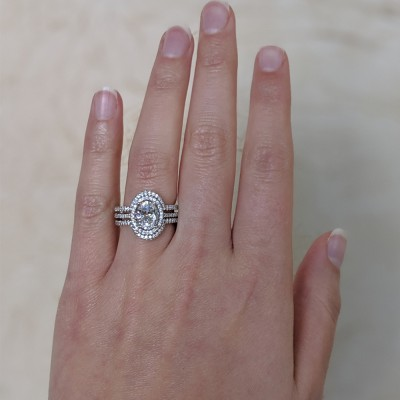 Oval Halo Engagement Ring and Ring Guard Set, 2 Pieces (Engagement Ring and Ring Guard)