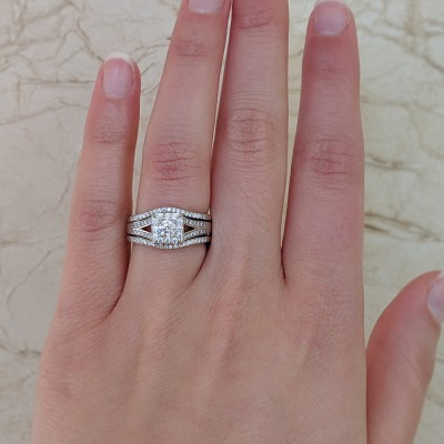 Vintage Halo Engagement Ring and Ring Guard Set, 2 Pieces (Ring Guard and Halo Engagement Ring)