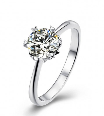 TwoBirch Platinum Plated 925 Sterling Silver 1 CT Round Solitaire Moissanite Engagement Ring with Heart Shaped Prongs (Sizes 5 to 9)