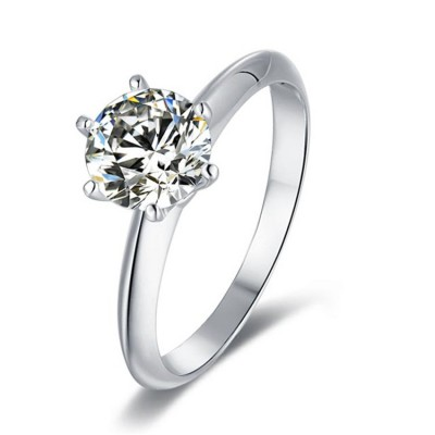 TwoBirch Platinum Plated 925 Sterling Silver 1.5 CT Round Moissanite Solitaire Engagement Ring with Six Prongs (Sizes 5 to 9)