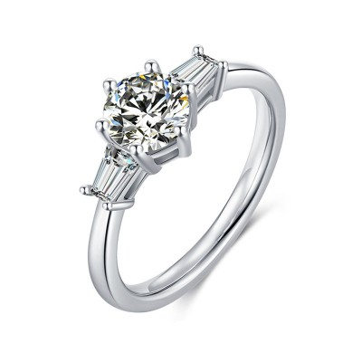 TwoBirch Platinum Plated 925 Sterling Silver 1 CT Round Moissanite Engagement Ring with Cubic Zirconia Baguette Side Stones (Sizes 5 to 9)