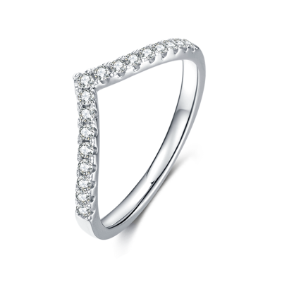 TwoBirch Platinum Plated 925 Sterling Silver Moissanite Chevron Shared Prong Set Dainty Wedding Band with 1.5 MM Stones  (Sizes 5 to 9)