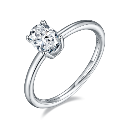 TwoBirch 1 Carat Moissanite Oval Solitaire in Platinum Plated Sterling Silver (CERTIFIED, Size 5, 6, 7, 8, 9)