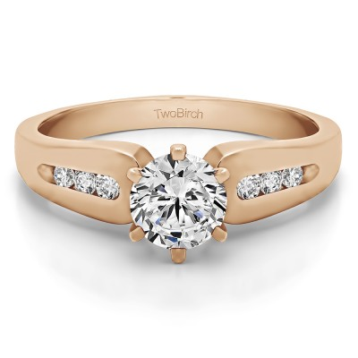 0.66 Ct. Round Graduated Channel Engagement Ring in Rose Gold