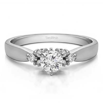 0.29 Carat Classic Three Stone Promise Ring With Cubic Zirconia Mounted in Sterling Silver (Size 7.75)