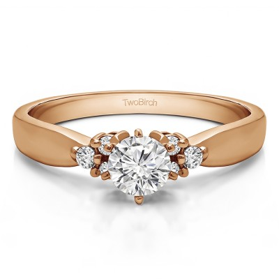 0.51 Ct. Round Engagement Ring with Cluster Sides in Rose Gold
